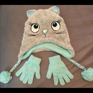 Girls winter hat & gloves